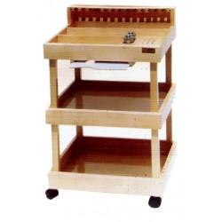 Mesa Auxiliar del pintor de madera con dos repisas, cajon en madera de marfil