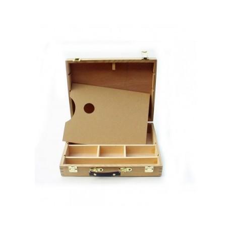 Caja de Madera para colocar los materiales con paleta incluida para oleos de 32 Ml.